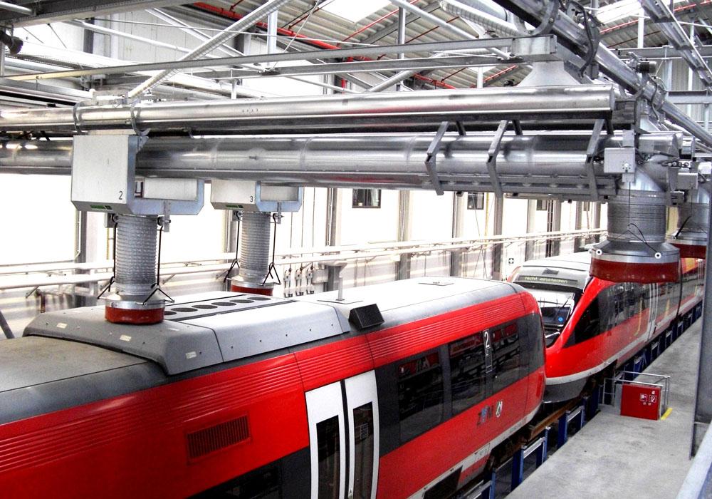 Sicheres Abgasabsaugsystem für Bahnen